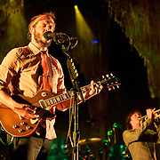 COLUMBIA, MD - September 15th, 2012 - Justin Vernon and C.J. Camerieri of Bon Iver perform at Merriweather Post Pavilion in Columbia, MD. The group graduated from large clubs to ampitheratre's on the success of their second, self-titled album. (Photo by Kyle Gustafson/For The Washington Post)