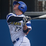 Delaware Infielder Diaz Nardo (27) bats during a regular season baseball game between Delaware and Saint Joseph's at Bob Hannah Stadium Tuesday April 19, 2016, in Newark.