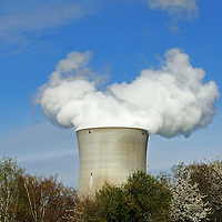 Vapour coming out of the cooling tower of Leibstadt nuclear power station, which stands close to the German border.<br /> The Swiss are due to vote shortly in a referendum whether to quit nuclear power, which via its five reactors, on four sites, provide almost 40% of the country's power