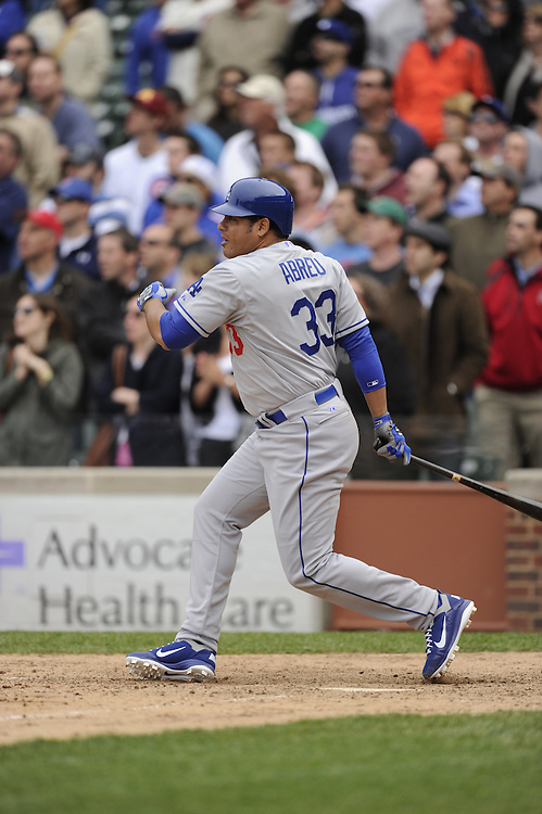 CHICAGO - MAY  04:  Bobby Abreu #33 of the Los Angeles Dodgers bats against the Chicago Cubs on May 4, 2012 at Wrigley Field in Chicago, Illinois.  The Cubs defeated the Dodgers 5-4.  (Photo by Ron Vesely)   Subject:  Bobby Abreu