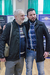 Finsbury Park Mosque, London, February 7th 2016. Labour Leader and local MP Jeremy Corbyn  poses for a picture at Finsbury Park Mosque during the Visit My Mosque initiative by the Muslim Council of Britain to show non-Muslims &ldquo;how Muslims connect to God, connect to communities and to neighbours around them&rdquo;.<br /> . ///FOR LICENCING CONTACT: paul@pauldaveycreative.co.uk TEL:+44 (0) 7966 016 296 or +44 (0) 20 8969 6875. &copy;2015 Paul R Davey. All rights reserved.