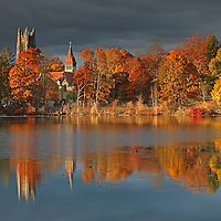 Wellesley College, featuring its iconic Galen Stone Tower which is part of Green Hall and the William S. Houghton Memorial Chapel on a beautiful afternoon in autumn. Fall foliage colors and the historic building are reflected in Lake Waban. Wellesley College is a private, women's, liberal-arts college located in the town of Wellesley, Massachusetts and it is ranked the third best liberal arts college in the United States. Notable alumnae include Hillary Clinton, Madeleine Albright, Soong Mei-ling, Cokie Roberts, and Diane Sawyer. It&rsquo;s most famous student is Hillary Rodham Clinton, Class of 1969. Hillary Rodham Clinton is currently running for president of the United States aiming to make history and becoming the first female US president. <br />