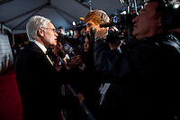 Prof. Markus Schachter, recipient of The Directorate Award, takes questions from the media during the red carpet arrivals at the 37th International Emmy Awards Gala in New York on Monday, November 23, 2009.  ***EXCLUSIVE***