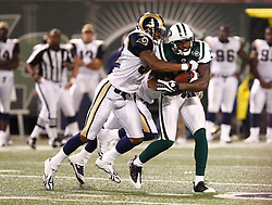 Aug 14, 2009; East Rutherford, NJ, USA;   New York Jets wide receiver Wallace Wright (15) is tackled by St. Louis Rams cornerback Bradley Fletcher (32) during the second half at Giants Stadium. The Rams defeated the Jets 23-20.