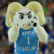 North Carolina Tarheels mascot Ramses claps his hands during a TV timeout in the second half of a 2013 Round Two Women's NCAA tournament game against No. 6 Delaware Tuesday, March 26, 2013, at the Bob Carpenter Center in Newark Delaware.