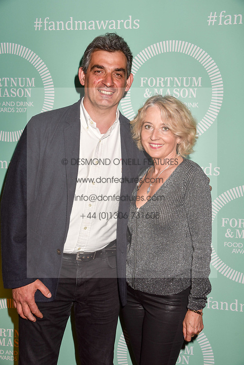 Bruno Loubet and Catherine Loubet at the 2017 Fortnum &amp; Mason Food &amp; Drink Awards held at Fortnum &amp; Mason, Piccadilly London England. 11 May 2017.<br /> Photo by Dominic O'Neill/SilverHub 0203 174 1069 sales@silverhubmedia.com