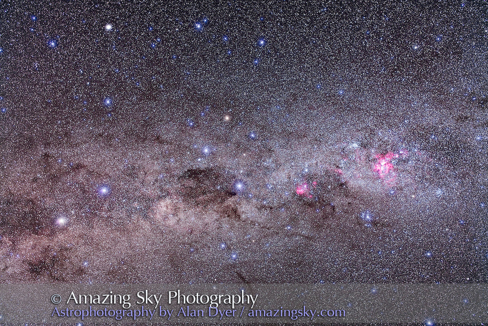 Area of southern Milky Way containing Eta Carinae, Crux and Alpha & Beta Centaurus, taken from Atacama Lodge, Chile, March 2010, with Canon 5D MkII (modified) and Sigma 50mm lens at f/4 for stack of 4 x 6 minute exposures at ISO 800 plus stack of 4 x 6 minutes with Kenko Softon filter for star glows.