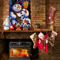WA09469-00...WASHINGTON - Fireplace decorated for Christmas.