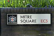 Mitre Square Street Sign, London, Britain - April 2008