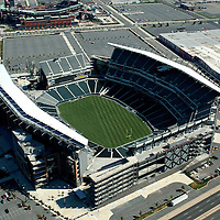 Aerial view of Philadelphia Sports Venues,<br />  Lincoln Financial Field, Citizens Bank Park.