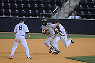 Mississippi's Miles Hamblin tags out  Arkansas-Little Rock's Tommie Johnson at Oxford-University Stadium in Oxford, Miss. on Wednesday, April 7, 2010. Arkansas-Little Rock won 9-6.