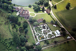 Image &copy;Licensed to i-Images Picture Agency. Aerial views. United Kingdom.<br /> LULLINGSTONE CASTLE WITH THE EARTH GARDENS FROM THE AIR. Picture by i-Images