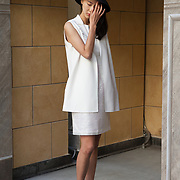 Milan, Italy, September 21, 2015. A Chinese model at a fashion runaway wears an outfit by Chinese designer Huizhou Zhao, Four Season Hotel.