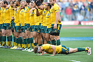 CAPE TOWN, SOUTH AFRICA - Saturday 28 September 2013, Michael Hooper of Australia doing push up before the singing of the national anthems during the Castle Lager Rugby Championship test match between South Africa (Sprinkboks) and Australia (Wallabies) at DHL Newlands in Cape Town.<br /> Photo by Roger Sedres/ ImageSA