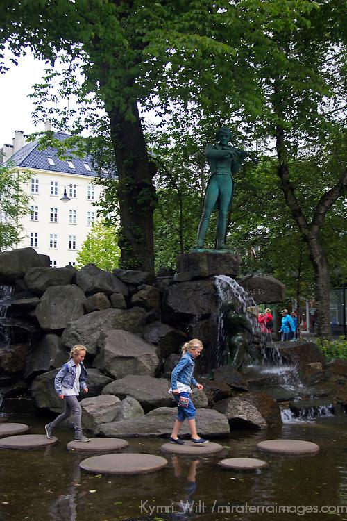 Europe, Norway, Bergen. Water Sculpture in Bergen.