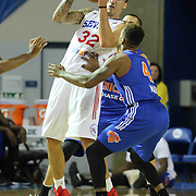 Delaware 87ers Forward Drew Gordon (32) attempts to pass the ball as Westchester Knicks Forward Chris Johnson (4) defends in the first half of a NBA D-league regular season basketball game between the Delaware 87ers and the Westchester Knicks (New York Knicks) Sunday, Dec. 28, 2014 at The Bob Carpenter Sports Convocation Center in Newark, DEL