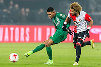 ROTTERDAM - Feyenoord - FC Groningen , Voetbal , Eredivisie , Seizoen 2016/2017 , Feijenoord stadion de Kuip , 11-02-2017 ,  FC Groningen speler Juninho Bacuna. (l) in duel met Feyenoord speler Tonny Vilhena (r)