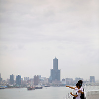 View over Kaohsiung Harbor from Cijin Island's lighthouse.