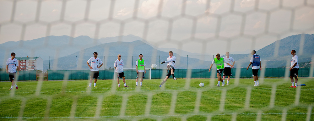 PODGORICA, MONTENEGRO - Monday, August 10, 2009: Wales' goalkeeper Wayne Hennessey hits a shot towards goal during a training session ahead of the international friendly match against Montenegro. (Photo by David Rawcliffe/Propaganda)