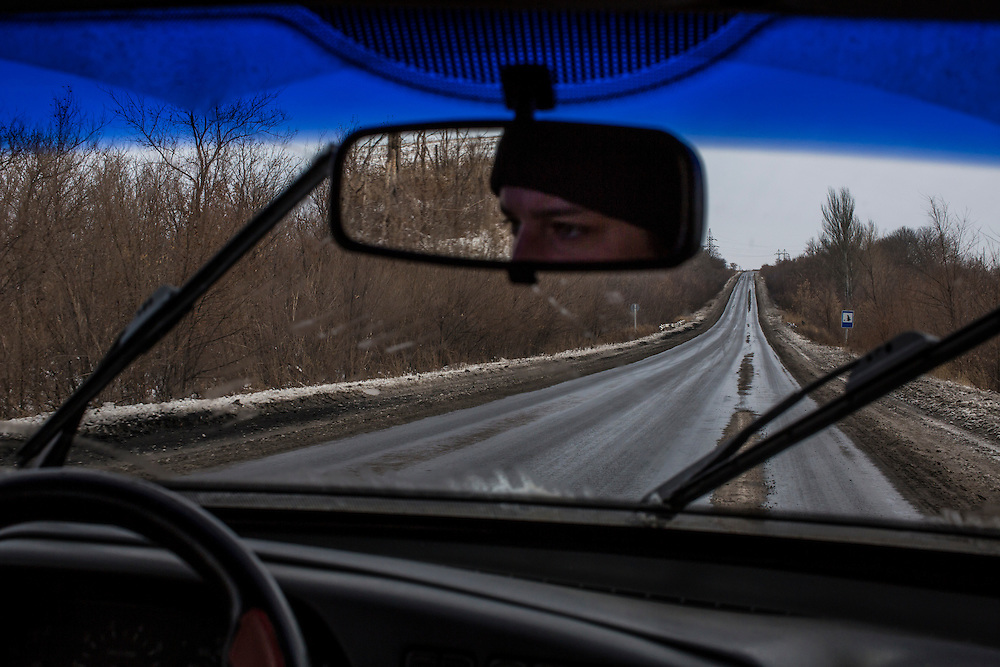 HIRNE, UKRAINE - DECEMBER 8, 2014: The road between Donetsk and Luhansk in Hirne, Ukraine. CREDIT: Brendan Hoffman for The New York Times
