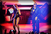 Jay-Z joined Rihanna on stage for two songs as she launched her new album, Rated R, Brixton Academy, London, England.
