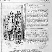 """""""Riots are expensive luxuries""""  (in taxes to the working man.)  Nast political cartoon on the 1879  1877 riots Harper's Weekly March 8, 1879 politics, satire"""
