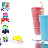 Colorful paper dolls and milkshakes