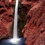 Dramatic Mooney Falls plunges into Havasu Canyon, AZ.