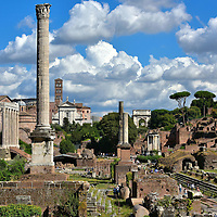 Panoramic View of Roman Forum in Rome, Italy<br />