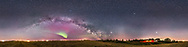 A 360&deg; horizon-to-zenith panorama of the northern spring sky on an early May night (May 10/11, 2016) in the wee hours at about 2 am with the Milky Way rising across the east. A odd, isolated auroral arc glows to the east, adding the green and magenta arc. The green arc over the southern Milky Way may be from airglow. My house is to the right.<br /> <br /> Cassiopeia and Perseus are at left, Cygnus at left of centre, and Sagittarius at centre low on the horizon. At centre is Mars (brightest) and Saturn above Antares in Scorpius low in the south. At upper right are the spring stars of Arcturus and the Big Dipper, here distorted by the map projection. At lower right is bright Jupiter and Leo, setting into the west. The Gegenschein (a glow from cometary dust directly opposite the Sun) is faintly visible low in the sky right of centre, to the west of Mars, then three weeks before opposition. <br /> <br /> I shot this from the field next to my rural yard in southern Alberta. Lights from farms and gas plants mar the horizon and brighten the sky to the north and east, while the lights of Strathmore and Calgary light the sky to the west at right. I shot this as a test of the iOptron iPano motorized panning mount. This is a stitch of 44 segments (!), shot in 4 rows or tiers of 11 segments each, with the 35mm lens at f/2 and stock Canon 6D at ISO 4000. <br /> <br /> All segments developed in Camera Raw, then exported to TIFFs to import into PTGui software. I used the Equirectangular projection to stitch the segments. Final processing of the flattened panorama in Photoshop.<br /> <br /> The original is 32,500 x 8,100 pixels and 4 Gb.