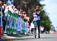 CAPE TOWN, SOUTH AFRICA - OCTOBER 10: Xavirea Tekana (8) wins the girls 1km during the South African Race Walking Championship at Youngsfield Military Base on October 10, 2015 in Cape Town, South Africa. (Photo by Roger Sedres/ImageSA)