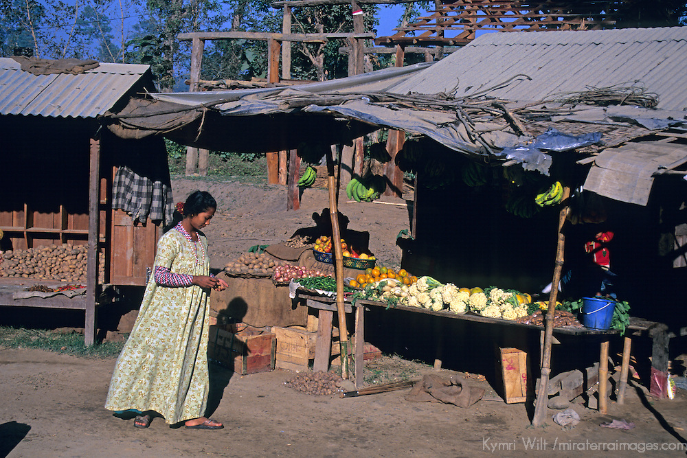 Asia, Nepal, Bardia. A Tharu woman and locally grown fruits and vegetables of Bardia, Nepal.