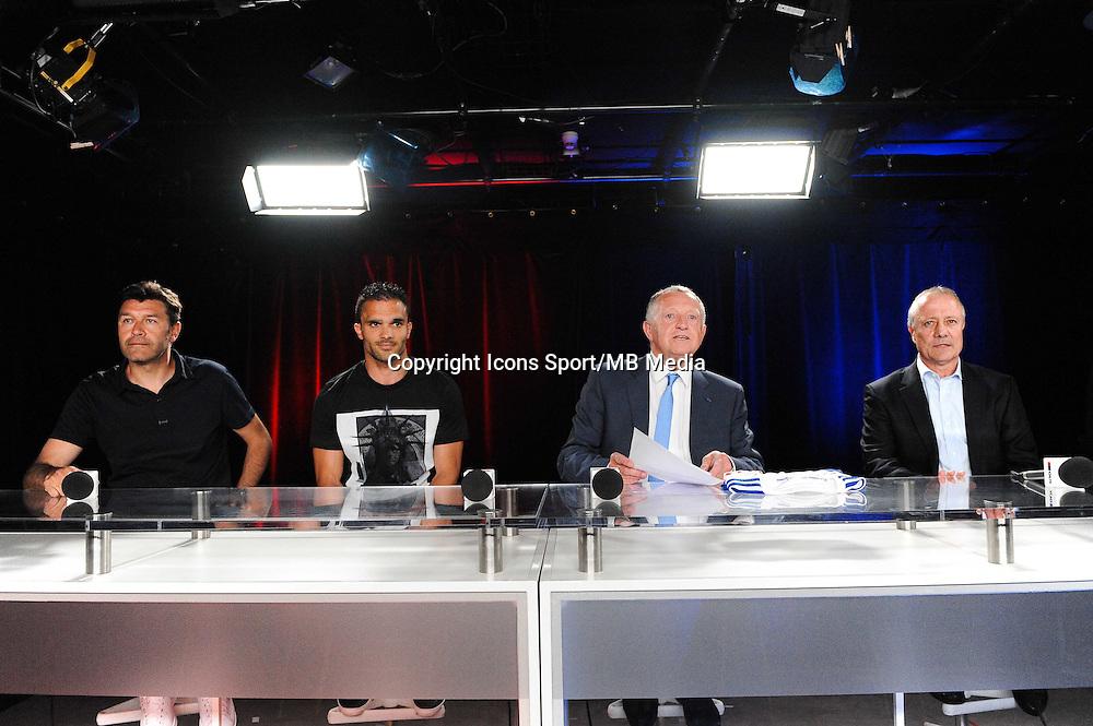 Hubert FOURNIER / Jeremy MOREL / Jean Michel AULAS / Bernard LACOMBE - 01.06.2015 - Presentation du nouveau joueur de Lyon<br />Photo : Jean Paul Thomas / Icon Sport