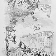 Civil War Political Cartoons and Advertisements. The draft evaders resorting to  escape  on balloons.  Illustration from Harper's Weekly, November 8, 1862