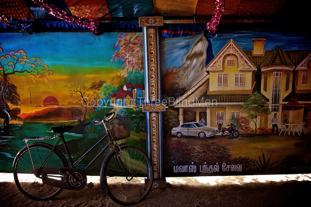 Painted panels decorate a wedding home. Jaffna homes. 2011