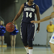 Georgetown Guard Sugar Rodgers (14) set up at the top of the key during a Quarterfinals Women's National Invitation Tournament game against #11 Delaware Sunday, Nov. 11, 2012 at the Bob Carpenter Center in Newark Delaware.