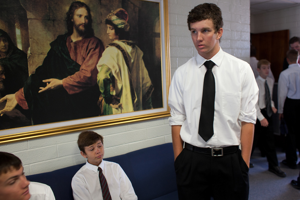 From left, Braden Romney, 16, Mattison Spilsbury, 13, and Dallas Romney, 18, hang out before church service in Colonia Juarez, Mexico in July 2011. United States Presidential candidate Mitt Romney's family migrated to Mexico over 100 years ago after being granted asylum from Mexican President Porfirio Diaz after they had been pursued by the U.S. authorities for polygamy. ..(Romney is currently running for the Republican nomination.)