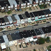 Aerial photograph of neighborhood, housing developments,