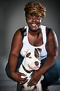 Angie Harris with dtg Beast, her six-month-old American Staffordshire terrier.