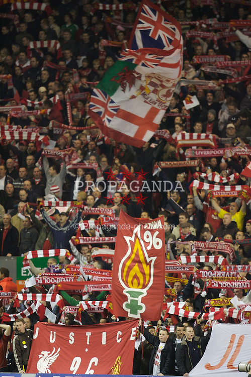 Liverpool, England - Saturday, January 6, 2007: Liverpool fans on the famous Spion Kop before the FA Cup 3rd Round match against Arsenal at Anfield. (Pic by David Rawcliffe/Propaganda)