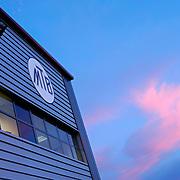 Corporate building in Deeside exterior detail at dusk