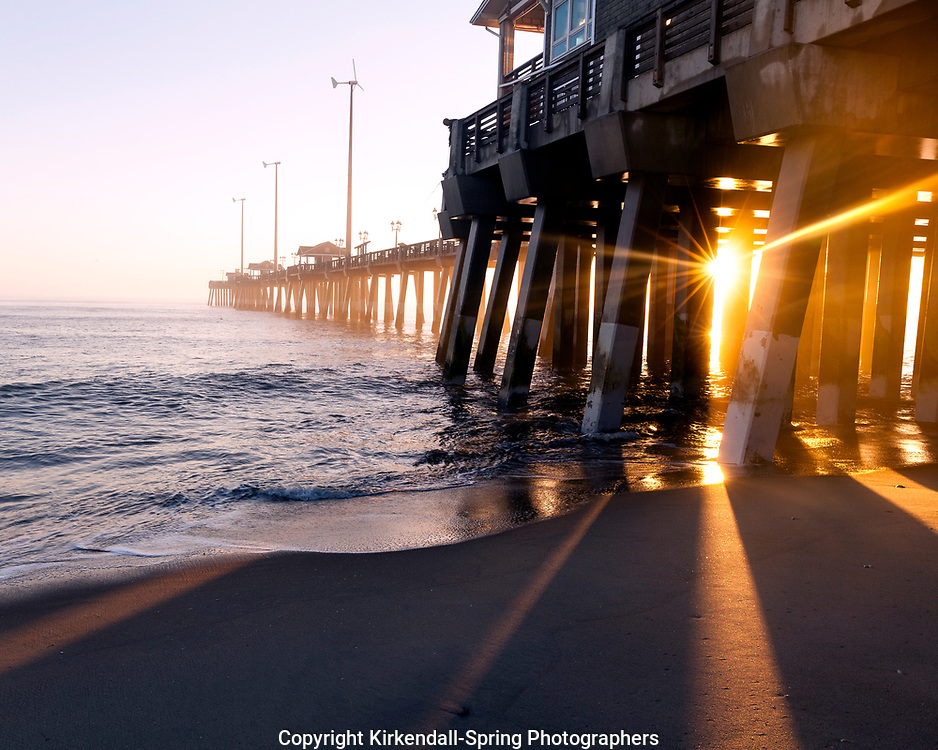 NC00789-00...North Carolina - Sunrise at Jennetts Pier near Whalebone Junction on the Outer Banks.