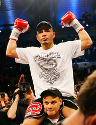 April 12, 2008; Atlantic City, NJ, USA;  Miguel Cotto celebrates after defeating Alfonso Gomez to retain his WBA Welterweight Championship fight at Boardwalk Hall in Atlantic City, NJ.  Cotto won via 6th round stoppage.