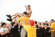 Crowdsurfers at Pointfest 30 at Verizon Wireless Amphitheater in St. Louis on May 20, 2012.