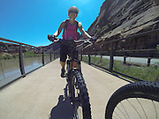 SHOT 5/9/16 11:17:20 AM - GoPro footage and stills of the Mag 7 trail, Fisher Towers and the bike trail along Highway 128 in Moab. Moab is a city in Grand County, in eastern Utah, in the western United States. Moab attracts a large number of tourists every year, mostly visitors to the nearby Arches and Canyonlands National Parks. The town is a popular base for mountain bikers and motorized offload enthusiasts who ride the extensive network of trails in the area. (Photo by Marc Piscotty / © 2016)