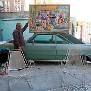 Painter Francisco Acosta at his house in Nuevo Laredo. ..http://www.facebook.com/LaFronteraArtistsAlongTheUsMexicanBorder.www.stefanfalke.com.