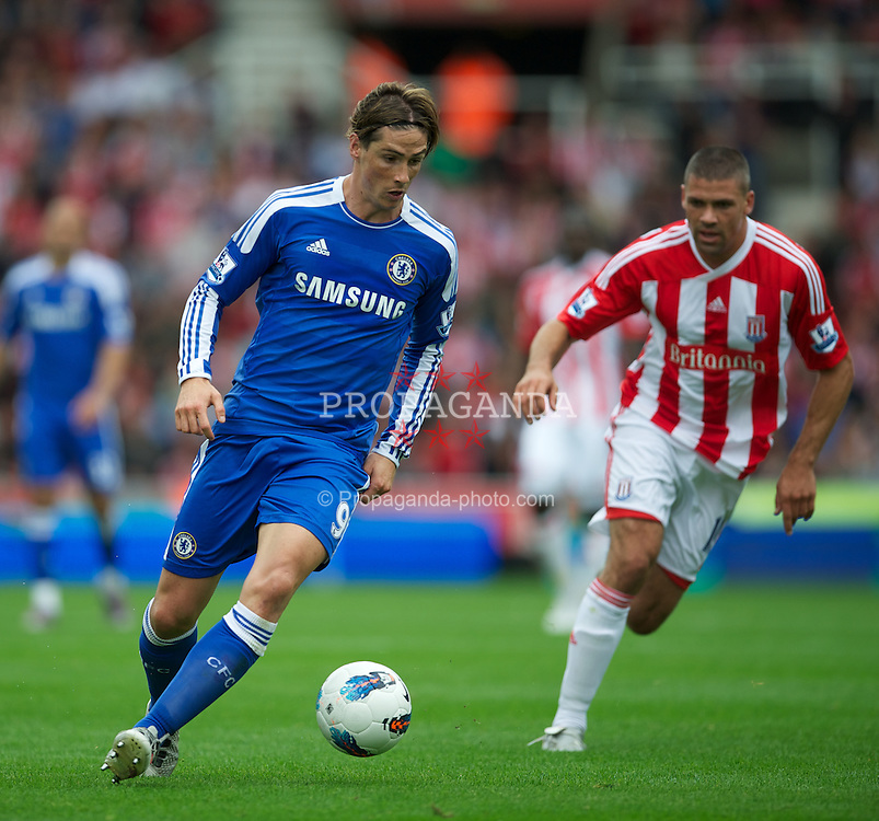 STOKE-ON-TRENT, ENGLAND - Sunday, August 14, 2011: Chelsea's Fernando Torres in action against Stoke City during the Premiership match at the Britannia Stadium. (Pic by David Rawcliffe/Propaganda)
