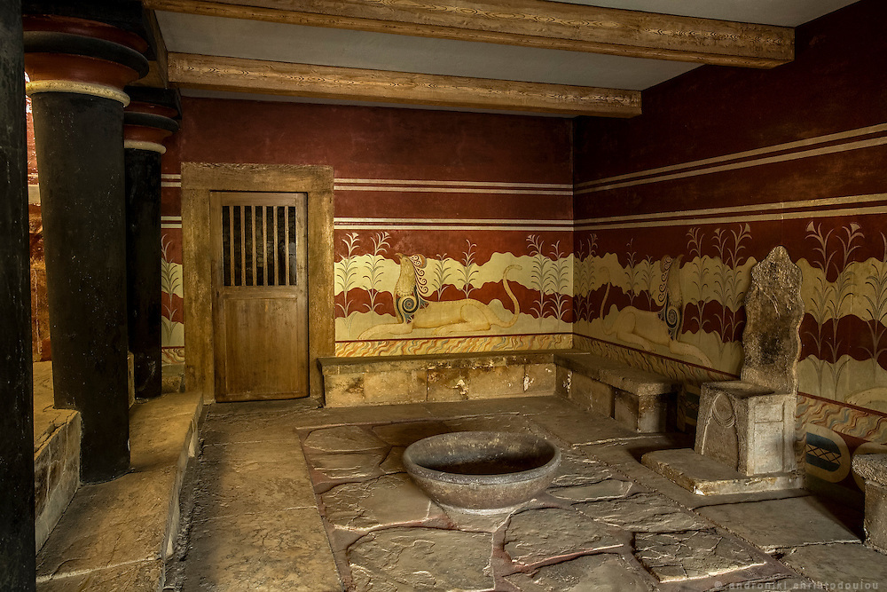 Room of the throne. The archeological site of Knosos palace that used to be the center of Minoan civilization about 2000 years BC.