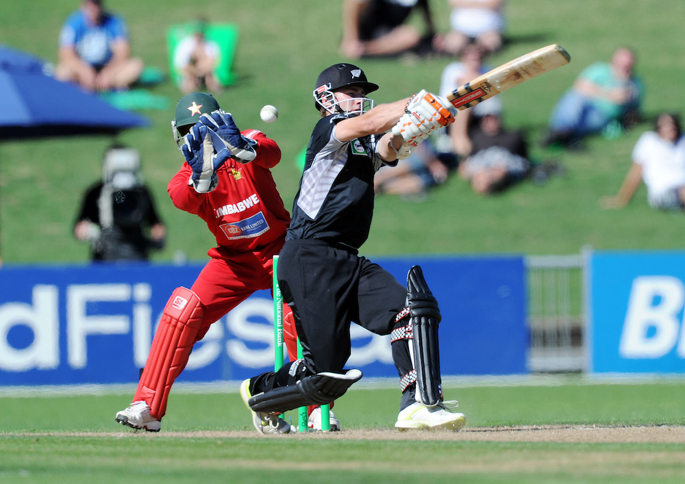 New Zealand's Kane Williamson bats in front of Zimbabwe keeper Tatenda Taibu in the third one day International Cricket match, McLean Park, Napier, New Zealand, Thursday, February 09, 2012. Credit:SNPA / Ross Setford