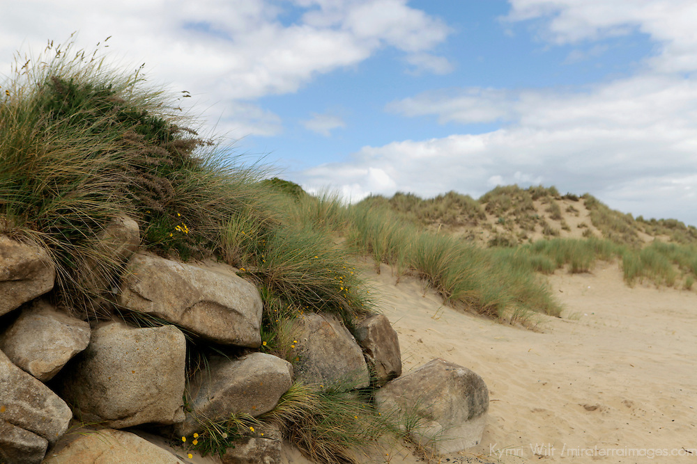 Europe, Ireland, Brittas Bay. Rocks and Dunes of Brittas Bay.